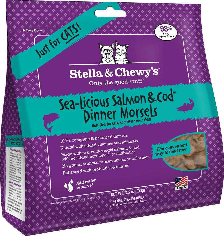 Stella & Chewy's Sea-Licious Salmon & Cod Grain-Free Freeze-Dried Raw Dinner Morsels Cat Food-Le Pup Pet Supplies and Grooming