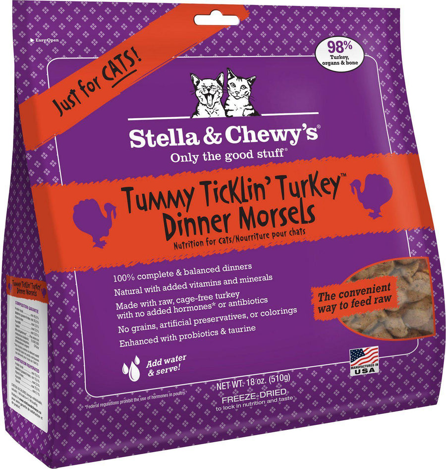 Stella & Chewy's Tummy Ticklin' Turkey Grain-Free Freeze-Dried Raw Dinner Morsels Cat Food-Le Pup Pet Supplies and Grooming
