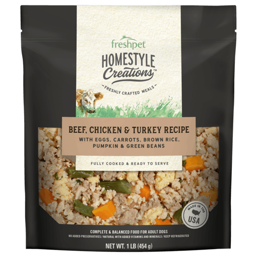 Freshpet Homestyle Creations Beef Chicken and Turkey Recipe Dog Food