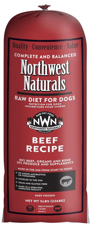 Northwest Naturals Beef Recipe Grain-Free Frozen Raw Chub Dog Food-Le Pup Pet Supplies and Grooming