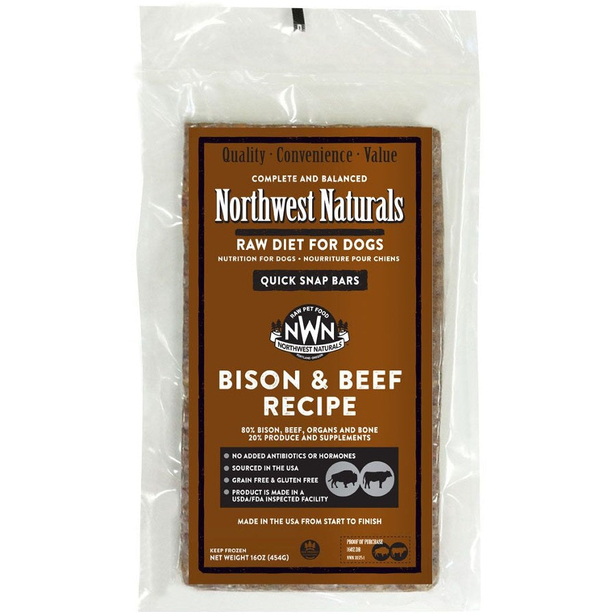 Northwest Naturals Bison & Beef Recipe Grain-Free Frozen Raw Dinner Bar Dog Food-Le Pup Pet Supplies and Grooming