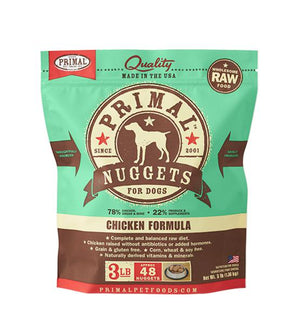Primal Chicken Formula Grain-Free Frozen Raw Nuggets Dog Food-Le Pup Pet Supplies and Grooming