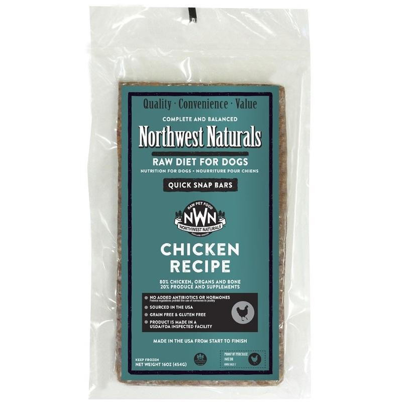 Northwest Naturals Chicken Recipe Grain-Free Frozen Raw Dinner Bar Dog Food-Le Pup Pet Supplies and Grooming