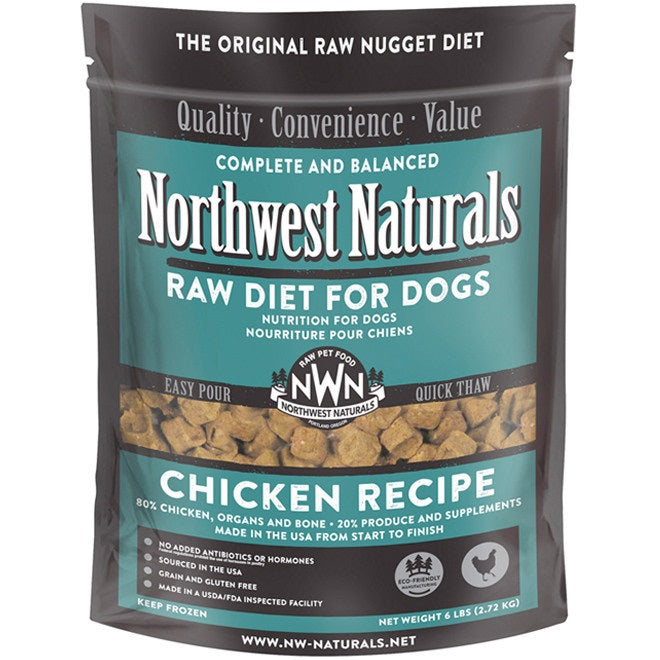 Northwest Naturals Chicken Recipe Grain-Free Frozen Raw Nuggets Dog Food-Le Pup Pet Supplies and Grooming