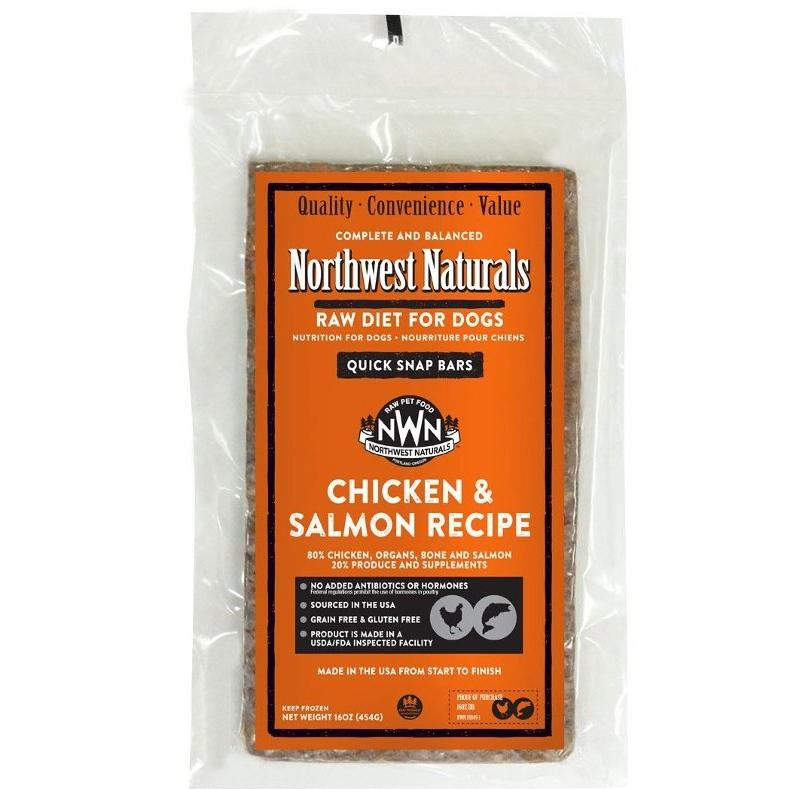 Northwest Naturals Chicken & Salmon Recipe Grain-Free Frozen Raw Dinner Bar Dog Food-Le Pup Pet Supplies and Grooming