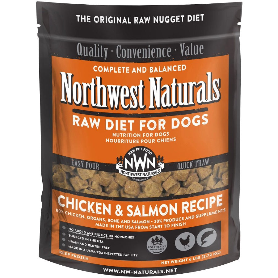 Northwest Naturals Chicken & Salmon Recipe Grain-Free Frozen Raw Nuggets Dog Food-Le Pup Pet Supplies and Grooming