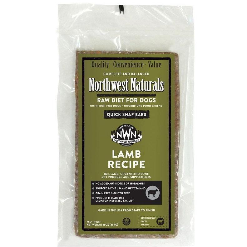 Northwest Naturals Lamb Recipe Grain-Free Frozen Raw Dinner Bar Dog Food-Le Pup Pet Supplies and Grooming