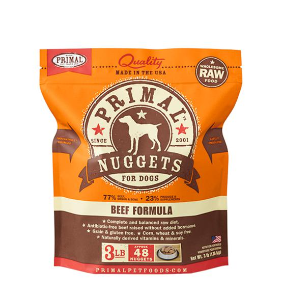Primal Beef Formula Grain-Free Frozen Raw Nuggets Dog Food-Le Pup Pet Supplies and Grooming