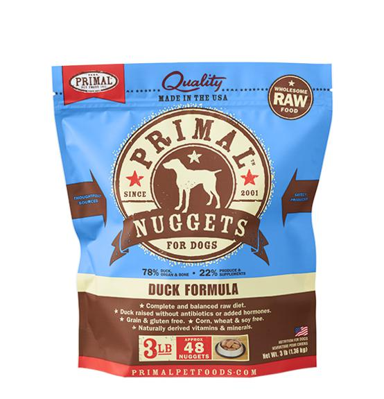 Primal Duck Formula Grain-Free Frozen Raw Nuggets Dog Food-Le Pup Pet Supplies and Grooming