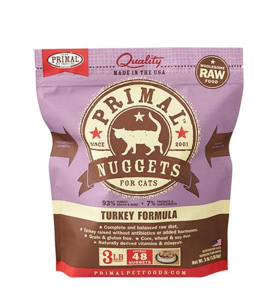 Primal Turkey Formula Grain-Free Frozen Raw Nuggets Cat Food-Le Pup Pet Supplies and Grooming