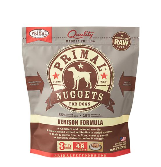 Primal Venison Formula Grain-Free Frozen Raw Nuggets Dog Food-Le Pup Pet Supplies and Grooming