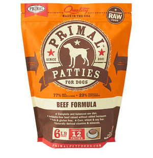 Primal Beef Formula Grain-Free Frozen Raw Patties Dog Food-Le Pup Pet Supplies and Grooming