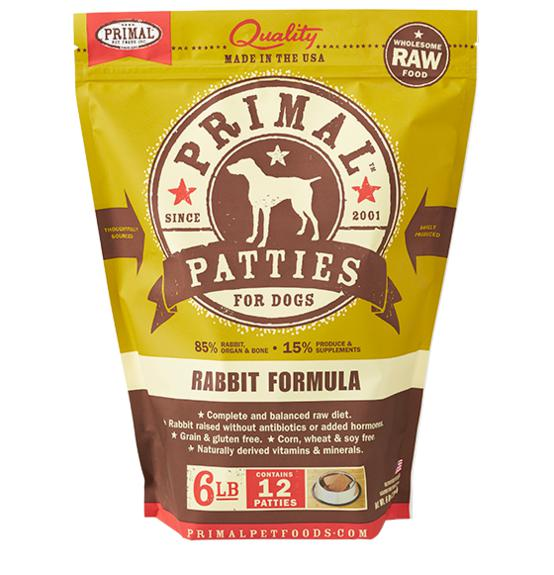 Primal Rabbit Formula Grain-Free Frozen Raw Patties Dog Food-Le Pup Pet Supplies and Grooming