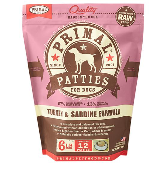 Primal Turkey & Sardine Formula Grain-Free Frozen Raw Patties Dog Food-Le Pup Pet Supplies and Grooming