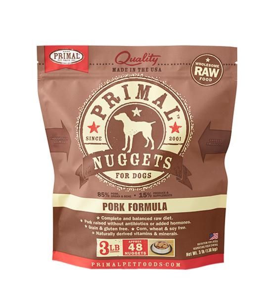 Primal Pork Formula Grain-Free Frozen Raw Nuggets Dog Food-Le Pup Pet Supplies and Grooming