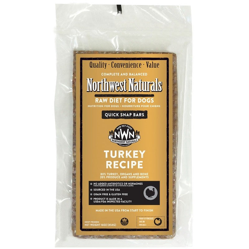 Northwest Naturals Turkey Recipe Grain-Free Frozen Raw Dinner Bar Dog Food-Le Pup Pet Supplies and Grooming