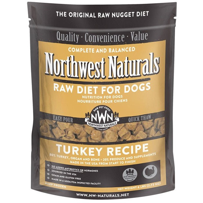 Northwest Naturals Turkey Recipe Grain-Free Frozen Raw Nuggets Dog Food-Le Pup Pet Supplies and Grooming