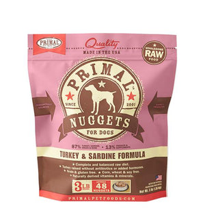 Primal Turkey & Sardine Formula Grain-Free Frozen Raw Nuggets Dog Food-Le Pup Pet Supplies and Grooming