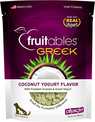 Fruitables Greek Coconut Yogurt Flavor Crunchy Dog Treats-Le Pup Pet Supplies and Grooming