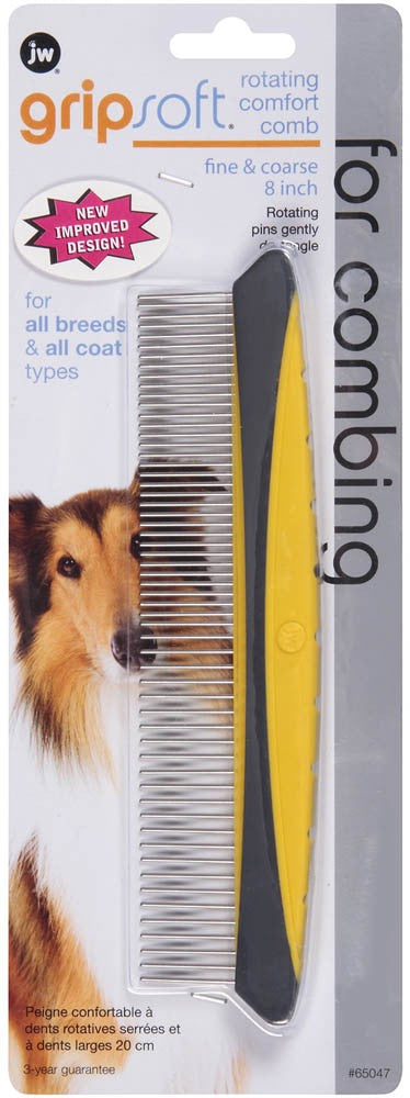 JW GripSoft Rotating Comfort Comb Dog Supply-Le Pup Pet Supplies and Grooming