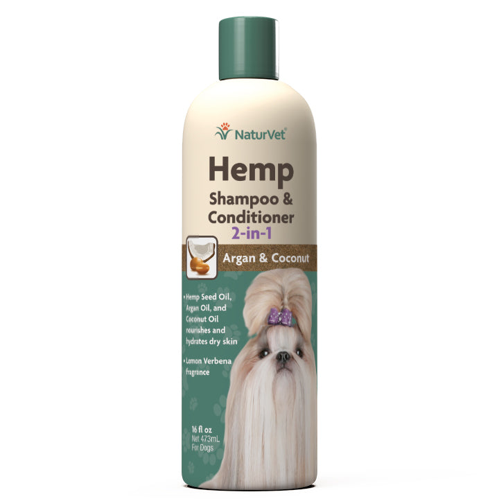 NaturVet Hemp Shampoo & Conditioner 2-in-1 16fl.oz Dog Supply-Le Pup Pet Supplies and Grooming