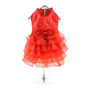 Doggie Design Holiday Dog Dress - Red Satin-Le Pup Pet Supplies and Grooming