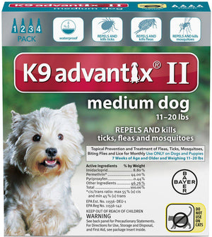 Bayer K9 Advantix II Ticks, Fleas & Mosquitoes Treatment for Medium Dogs 11-20lbs-Le Pup Pet Supplies and Grooming