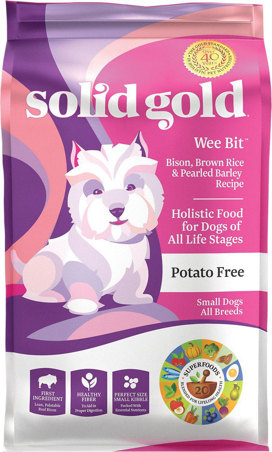Solid Gold Wee Bit Bison & Brown Rice with Pearled Barley Kibble Dry Dog Food-Le Pup Pet Supplies and Grooming