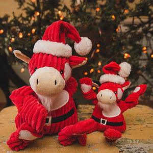 HuggleHounds Holiday Plush Corduroy Knottie Santa Cow Dog Toy-Le Pup Pet Supplies and Grooming