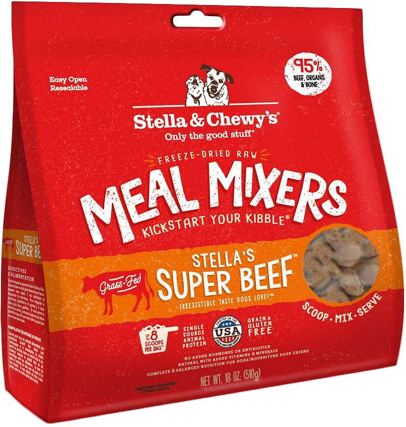 Stella & Chewy's Stella's Super Beef Grain-Free Freeze-Dried Raw Meal Mixers Dog Food-Le Pup Pet Supplies and Grooming