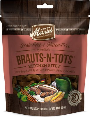 Merrick Kitchen Bites Brauts-n-Tots Grain-Free Biscuits Dog Treats-Le Pup Pet Supplies and Grooming