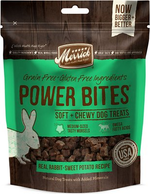 Merrick Power Bites Real Rabbit and Sweet Potato Recipe Grain Free Dog Treats-Le Pup Pet Supplies and Grooming