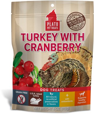 Plato Real Strips Turkey With Cranberry Dog Treats-Le Pup Pet Supplies and Grooming