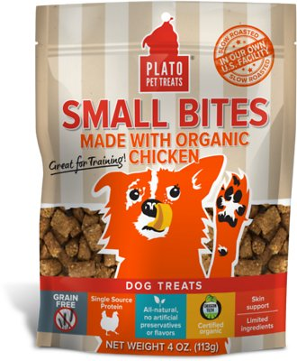 Plato Small Bites Organic Chicken Dog Treats-Le Pup Pet Supplies and Grooming