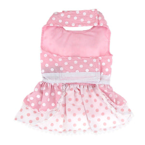 Doggie Desing Pink Polka Dot and Lace Set with Leash Dog Dress-Le Pup Pet Supplies and Grooming