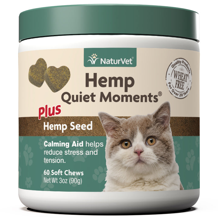 NaturVet Hemp Quiet Moments Calming Aid Soft Chew Cat Supply-Le Pup Pet Supplies and Grooming