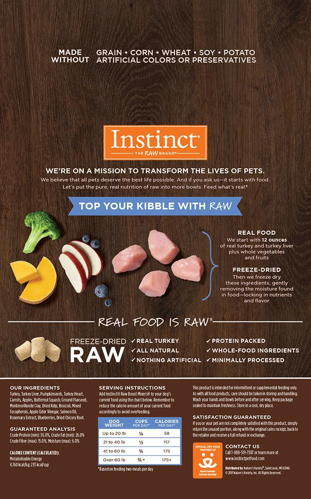 Instinct Raw Boost Mixers Cage-Free Turkey Grain-Free Freeze-Dried Raw Dog Food-Le Pup Pet Supplies and Grooming