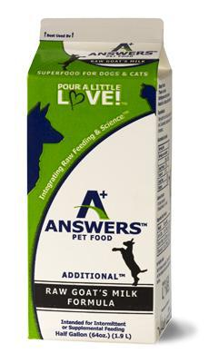 Answers Additional Raw Goat's Milk Frozen Grain-Free Dog and Cat Food-Le Pup Pet Supplies and Grooming