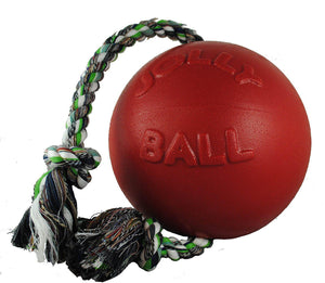 Jolly Pets Romp-N-Roll Tug Rope Ball Dog Toy, size/color varies-Le Pup Pet Supplies and Grooming