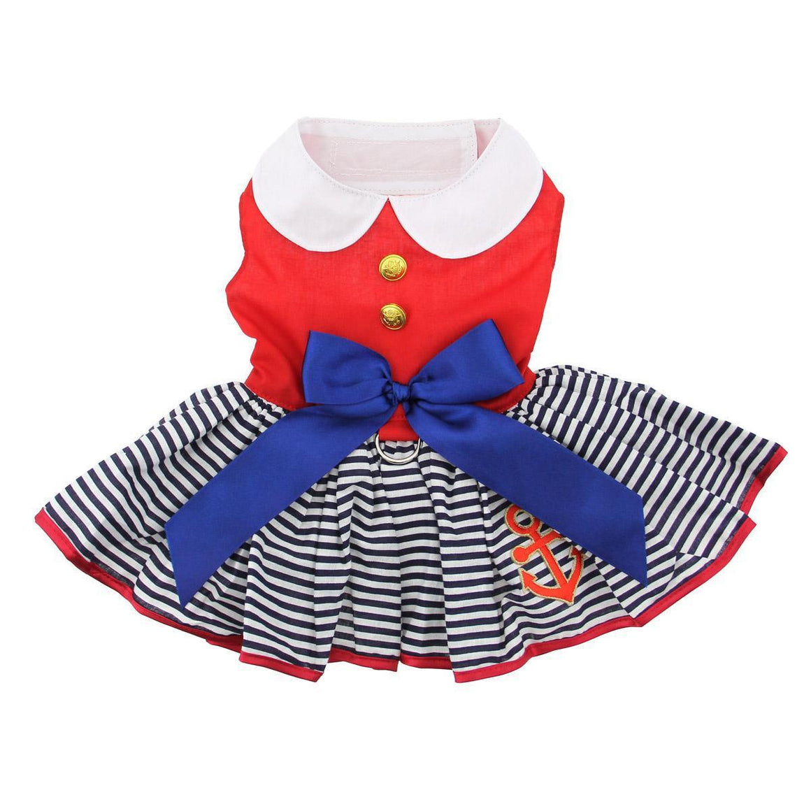Doggie Design Sailor Girl with Matching Leash Dog Dress-Le Pup Pet Supplies and Grooming