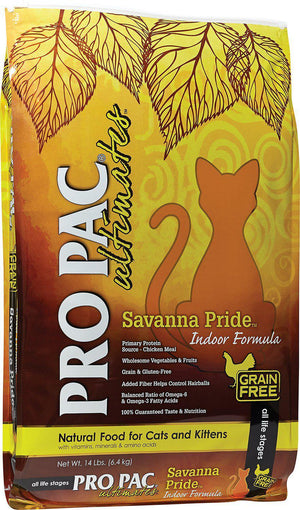 Pro Pac Ultimates Savanna Pride (Indoor Formula) Grain-Free Dry Cat Food-Le Pup Pet Supplies and Grooming