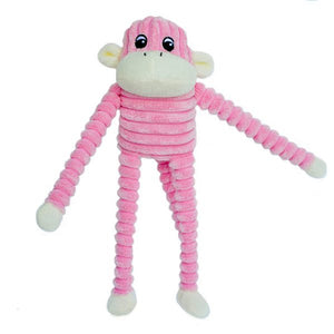 ZippyPaws Spencer the Crinkle Monkey Pink Dog Toy-Le Pup Pet Supplies and Grooming