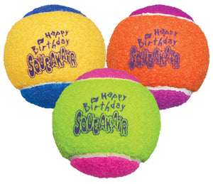 Kong Squeakair Birthday Balls Dog Toy, 3-pack, color varies-Le Pup Pet Supplies and Grooming