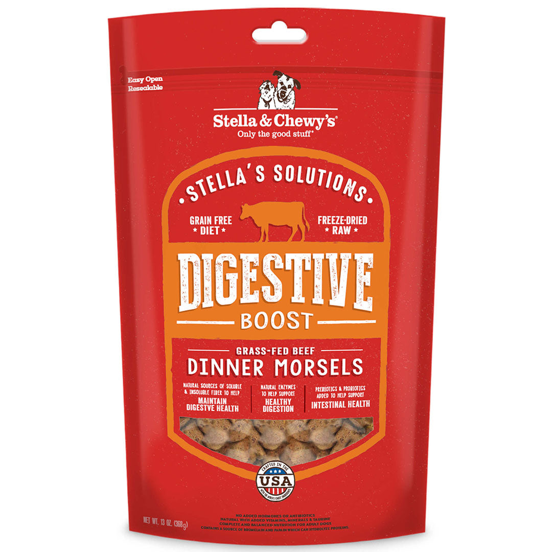 Stella & Chewy's Stella's Solutions Digestive Boost Freeze-Dried Raw Grass-Fed Beef Dinner Morsels Dog Food