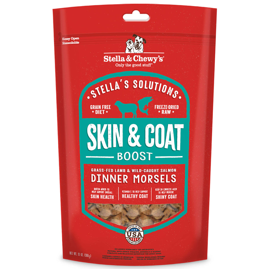 Stella & Chewy's Stella's Solutions Skin & Coat Boost Freeze-Dried Raw Grass-Fed Lamb & Wild-Caught Salmon Dinner Morsels Dog Food