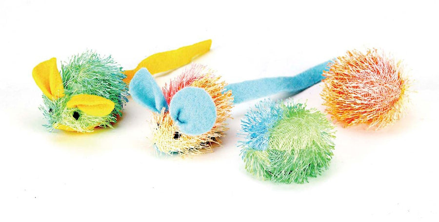 Spot Stringy Mice & Ball with Catnip Cat Toy, 4pk-Le Pup Pet Supplies and Grooming
