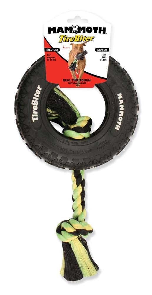 Mammoth TireBiter Tire with Rope Chew Dog Toy-Le Pup Pet Supplies and Grooming