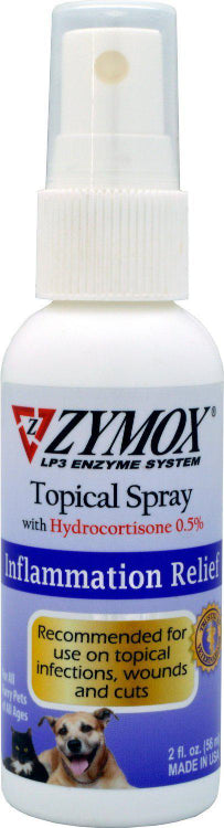 Zymox Topical Spray with Hydrocortisone 0.5% Inflammation Relief Dog and Cat Supply, 2oz.-Le Pup Pet Supplies and Grooming