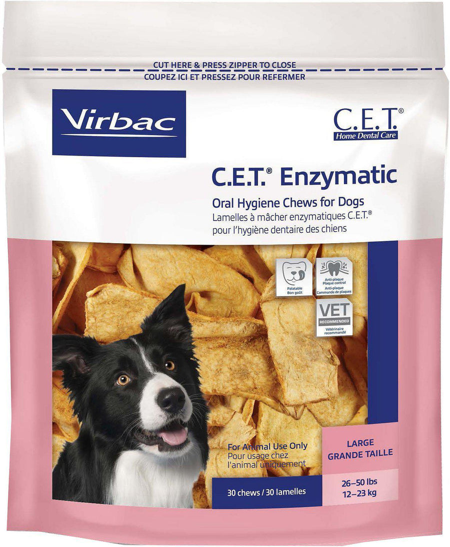 Virbac C.E.T. Enzymatic Oral Hygiene Chews Dog Treats, 30ct.-Le Pup Pet Supplies and Grooming