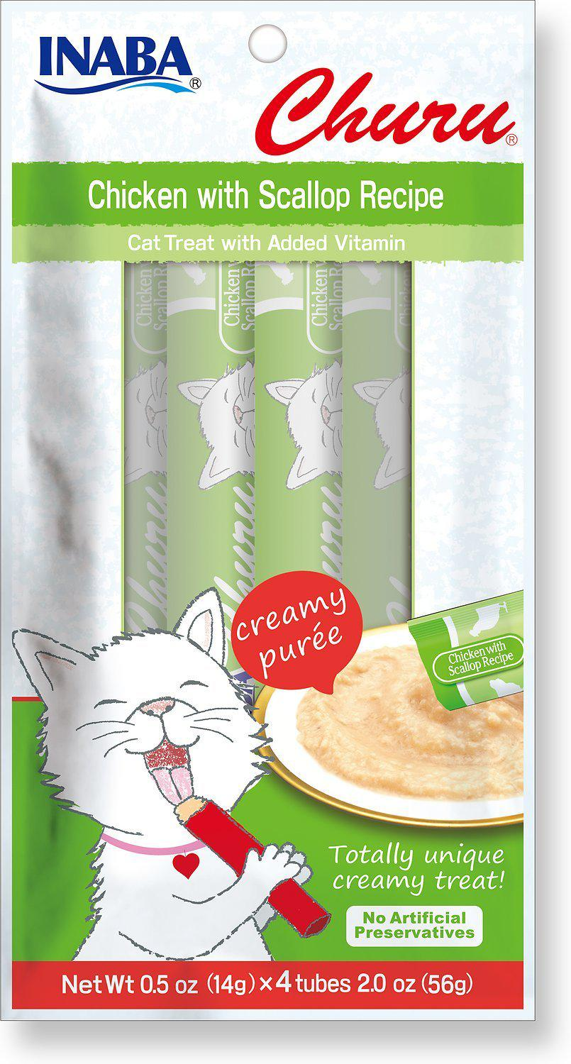 Inaba Churu Chicken with Scallop Creamy Purée Lickable Grain-Free Cat Treat-Le Pup Pet Supplies and Grooming